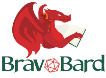 A dragon reading a book with the words Bravo Bard below it.